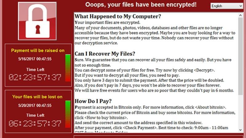 Image de l'écran annonçant que les données sont cryptées par le virus WannCry